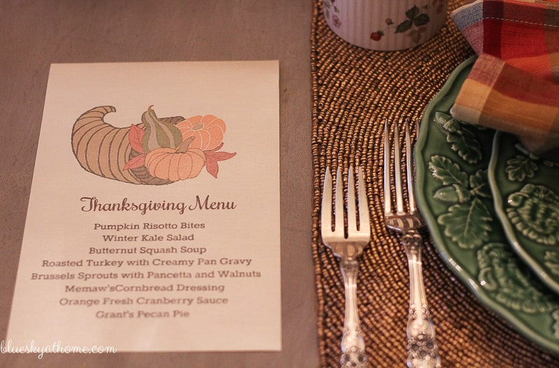 My 10 Turkey Thanksgiving Tablescape. 10 little turkeys play center stage in this Thanksgiving tablescape blog hop. BlueskyatHome.com