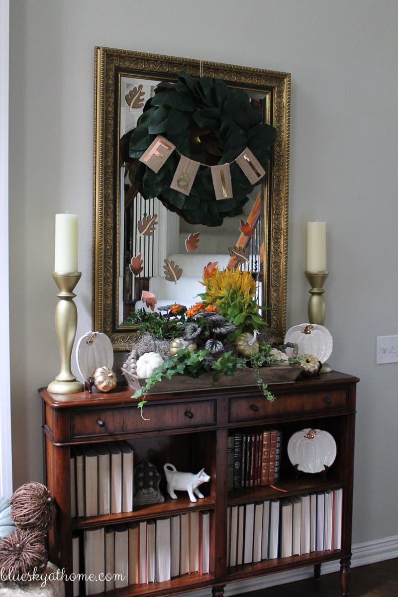 My Fall Decorations ~ a Little DIY, a Little Flea Market. Our fall decor combines DIY projects, flea market finds and store bought items. BlueskyatHome.com
