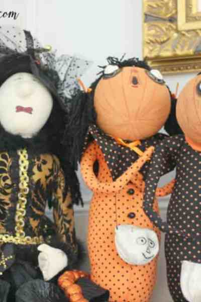 Halloween Decorations with Witches and Scarecrows
