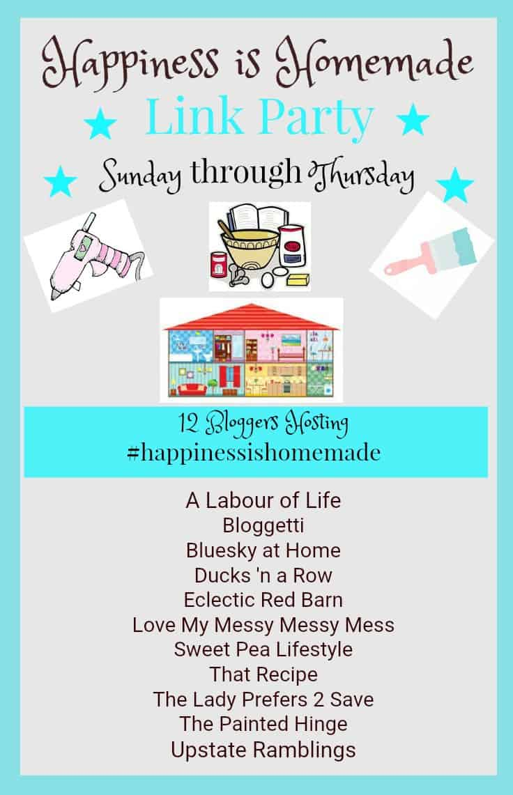 Happiness is Homemade Link Party 202. 12 Bloggers host a link party focusing on home decor, Diy, crafts, recipes and fun and inspirational ideas for you It's Link Party time every Sunday through Thursday. LInk up to be featured.