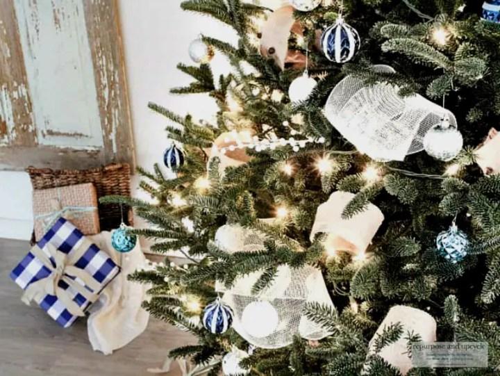 ribbon hack for a coastal Christmas tree