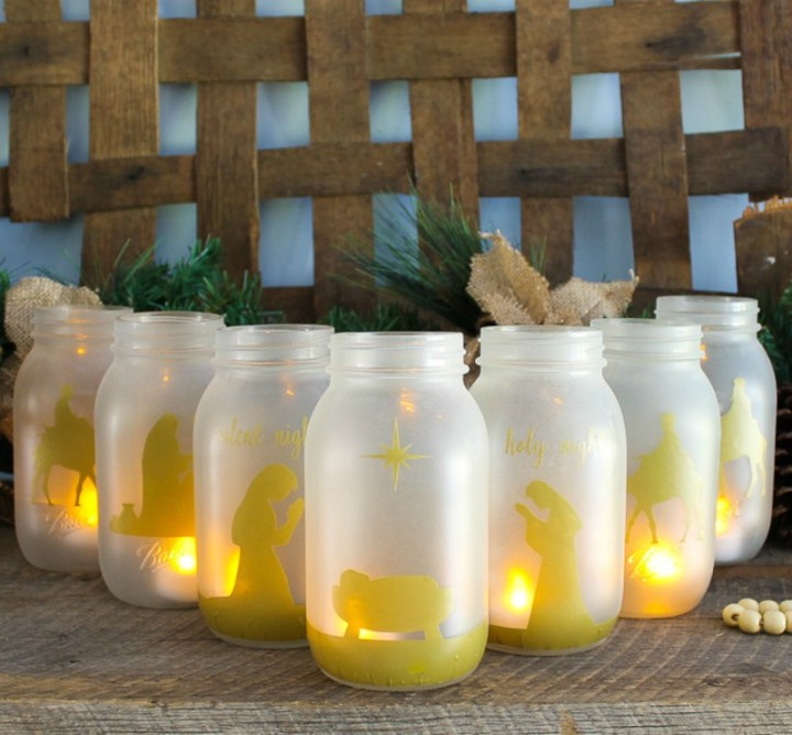 mason jar nativity scene