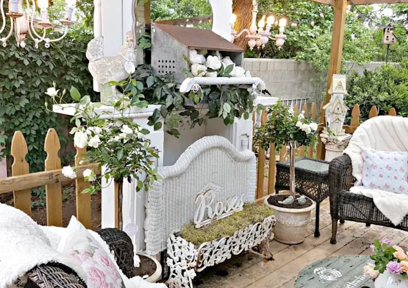 white rose backyard garden