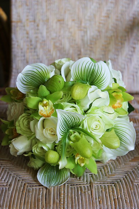 green lady slippers for brides bouquet