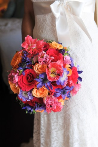 Jewel toned flowers by Blue Sky Weddings Maui