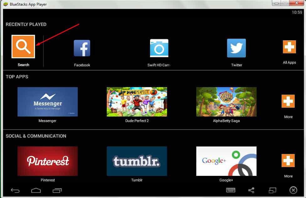 Bluestacks for Windows 10 (32 Bit/64 Bit) Homepage
