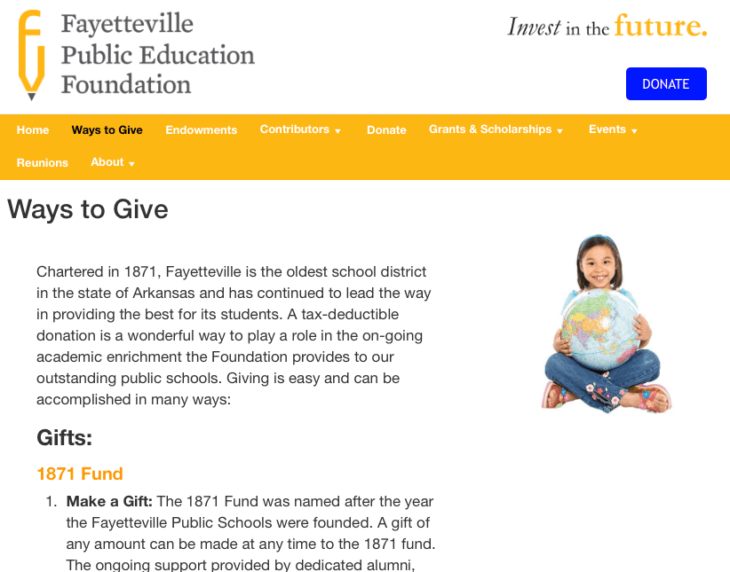 Fayetteville Public Education Foundation website