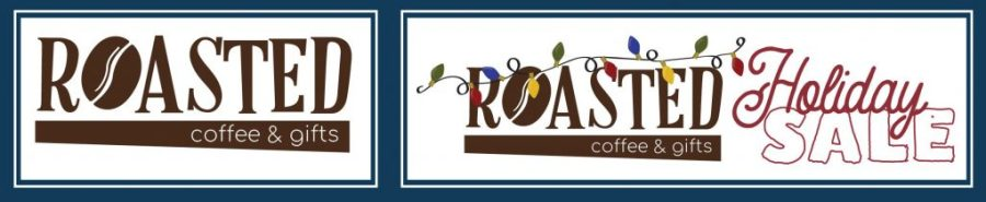 coffee shop logo without holiday lights beside logo with holiday lights and decorations added in
