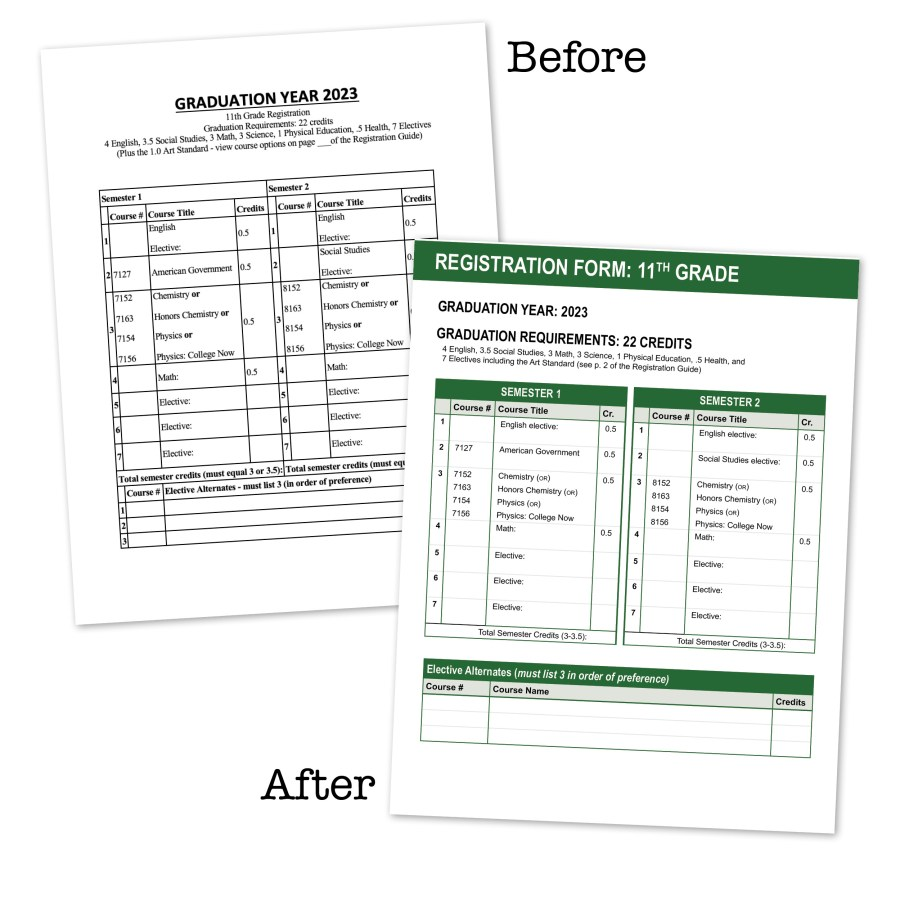 Image of high school registration forms - one before my design efforts, the other after.