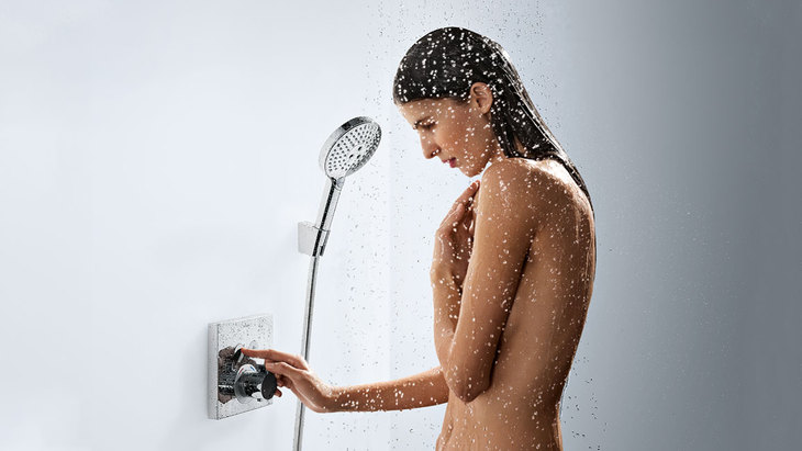 women with shower head