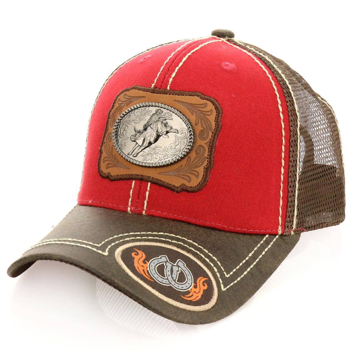 Pitbull Bull Riding Patch Metal Cotton Vintage Mesh Ball Cap-PB-114/RED