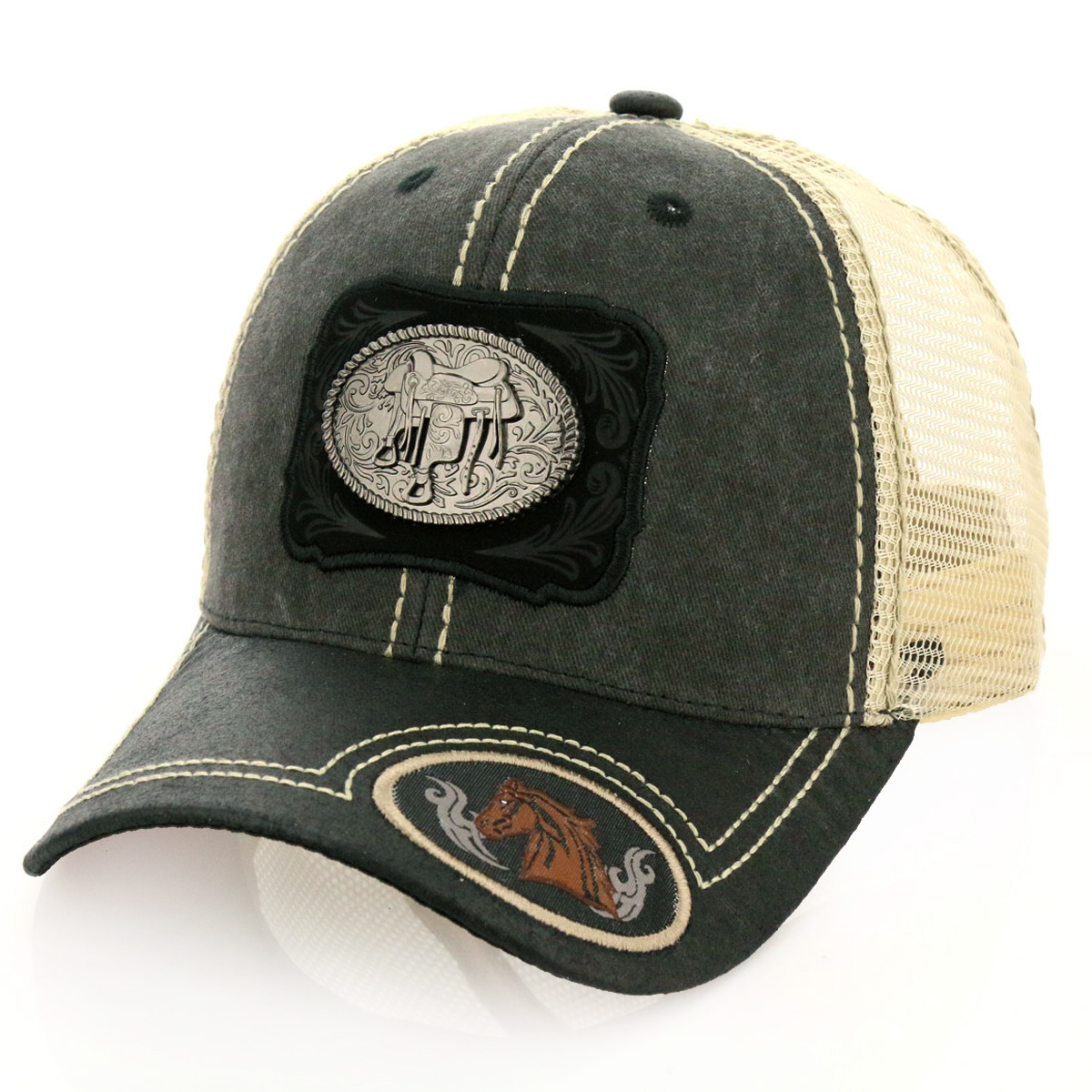 Pitbull Saddle Patch Metal Cotton Vintage Mesh Ball Cap-PB-117/GRY