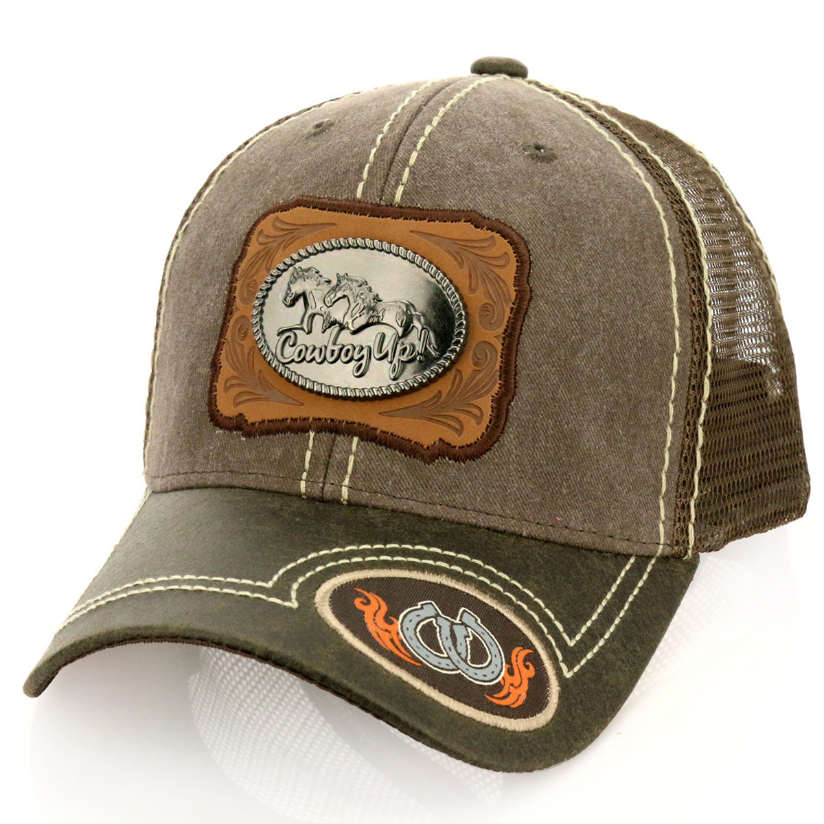 Pitbull Cowboy Up! Patch Metal Cotton Vintage Mesh Ball Cap-PB-115/BRN
