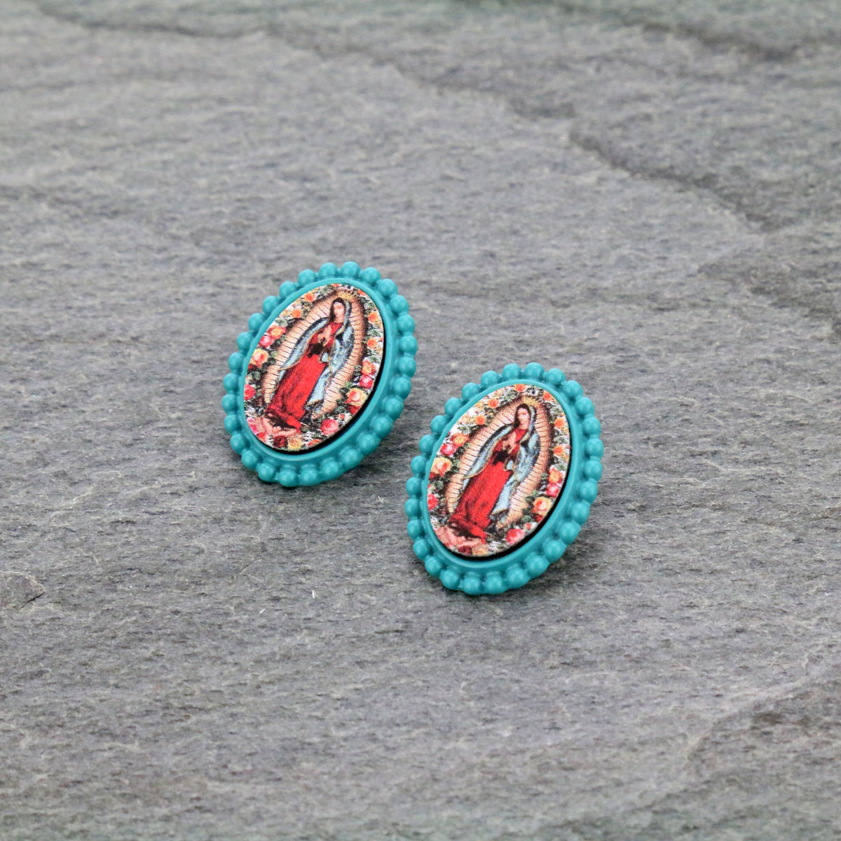 Mother of Guadalupe Post Earrings-ER0901/TQ