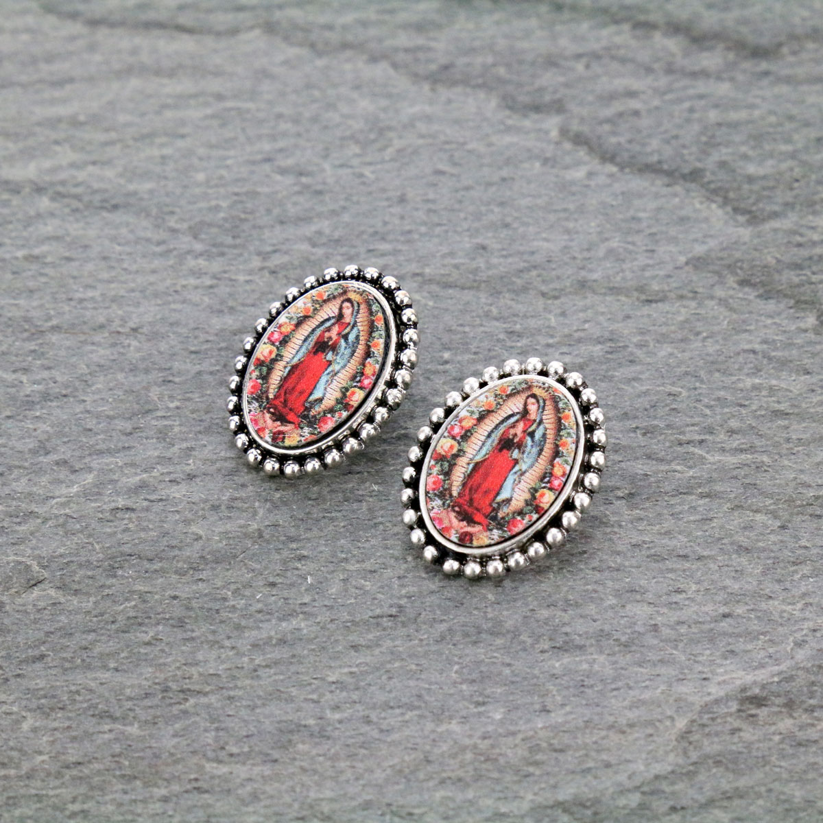 Mother of Guadalupe Post Earrings-ER0901/SB