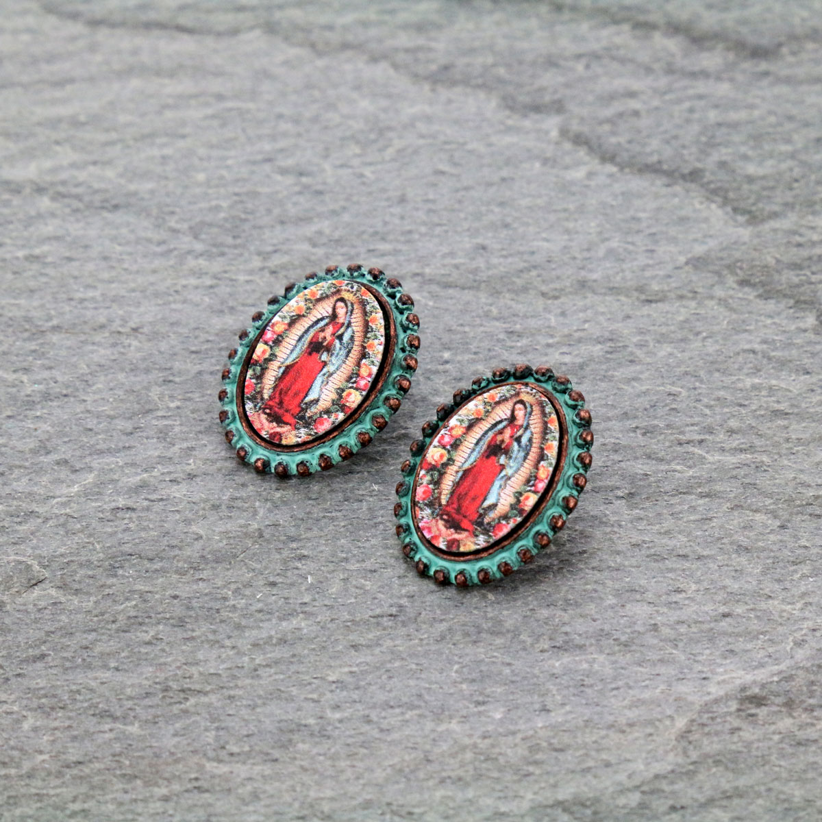 Mother of Guadalupe Post Earrings-ER0901/PAT