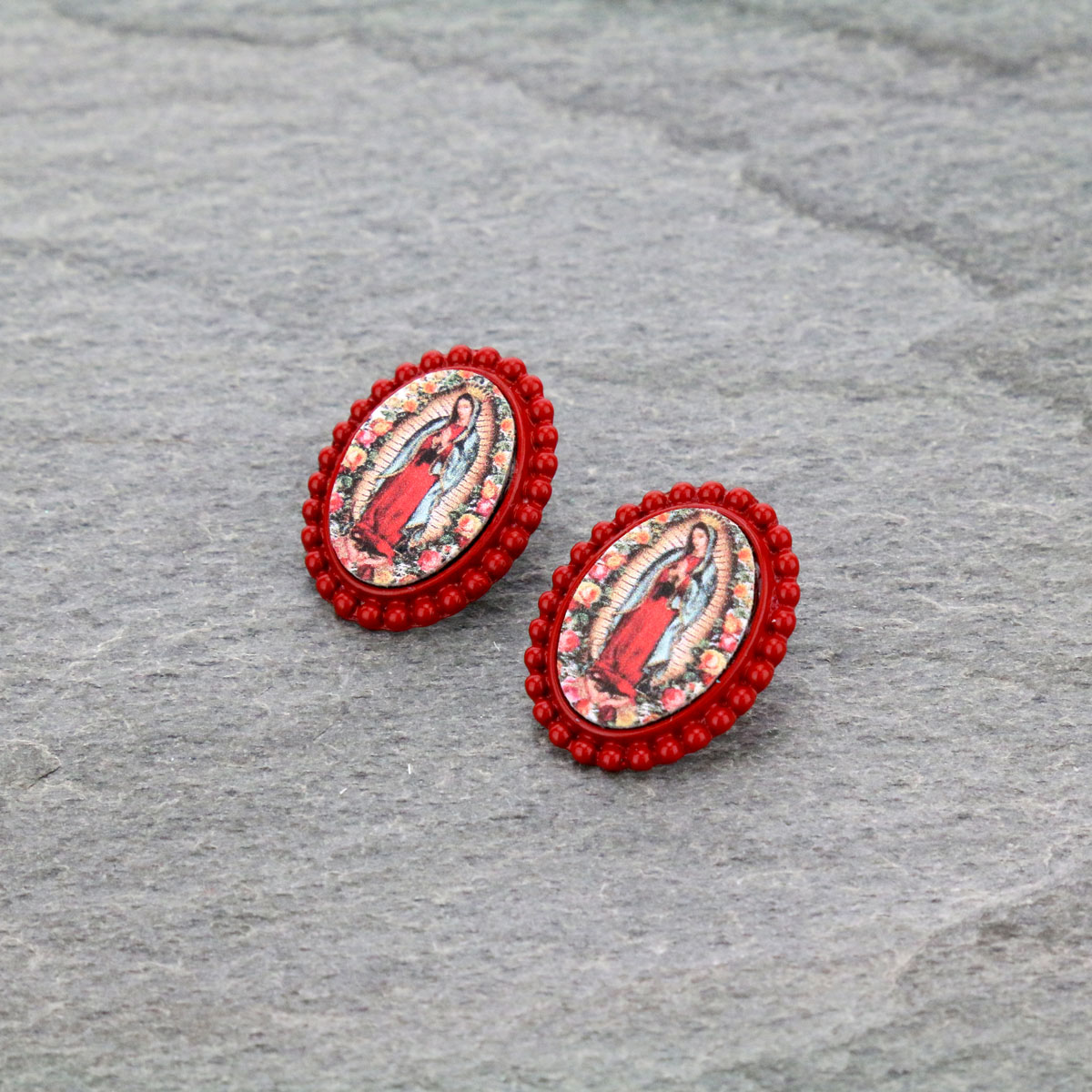Mother of Guadalupe Post Earrings-ER0901/RED