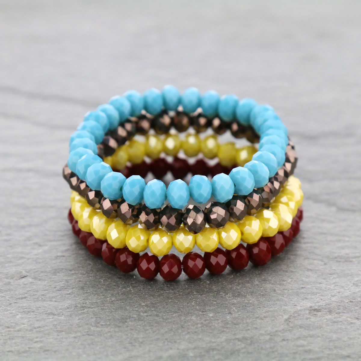 Four Strand Glass Bead Stackable Bracelet-SB2079/MUL7