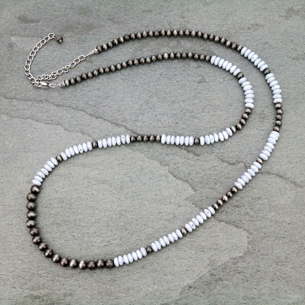 White Beaded Necklace-733455