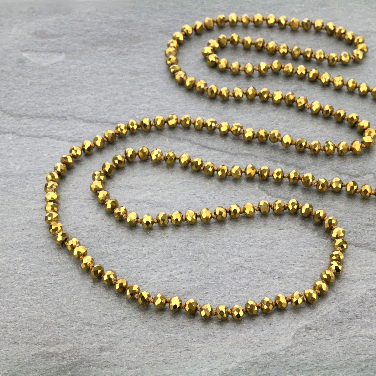 "60"" Endless Crystal Bead Necklace-ST-0064/GD(102)"