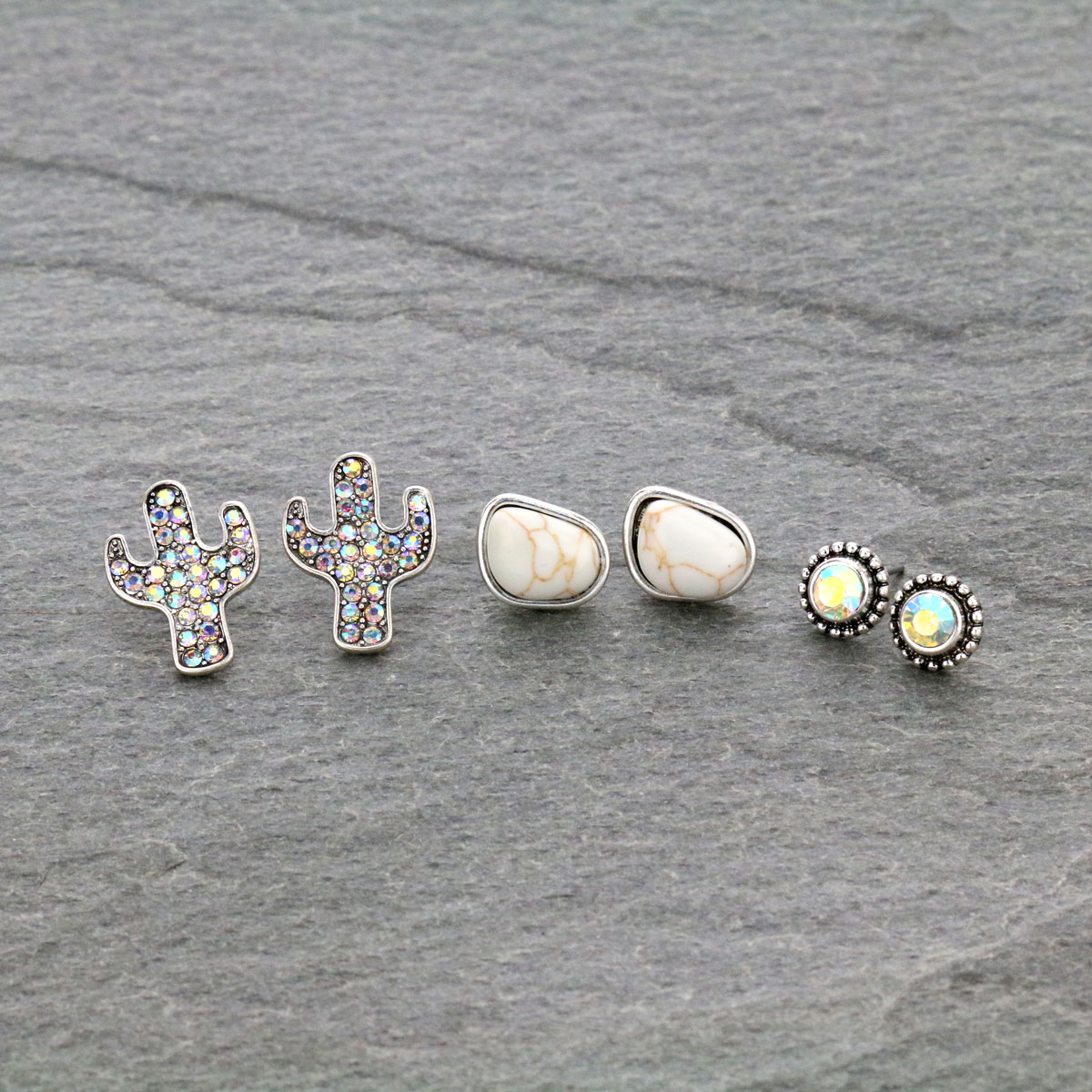 3 Pair Cactus Stone Stud Earrings Set-ER1115/NAT