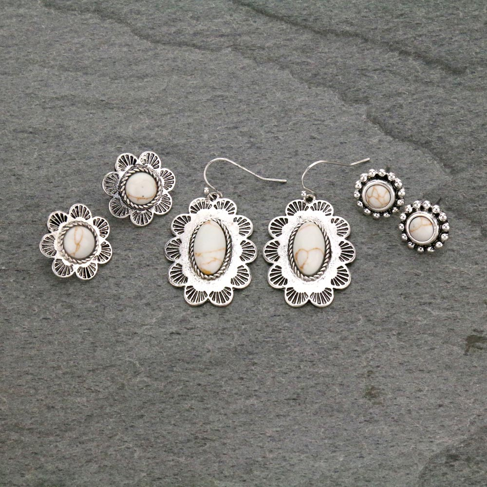 3 Pair Concho Earrings Set-ER1112/NAT