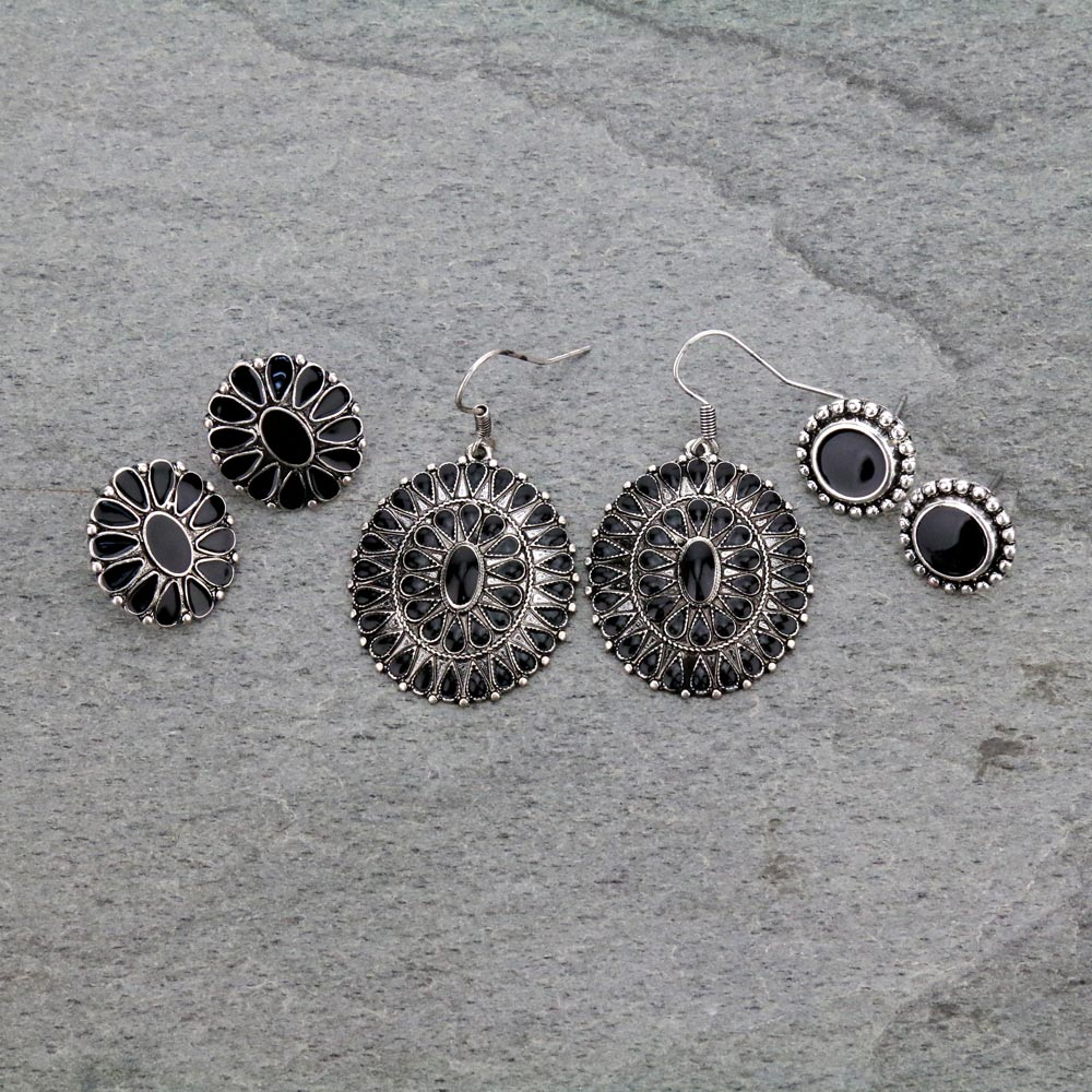3 Pair Concho Earrings Set-ER1121/BLK