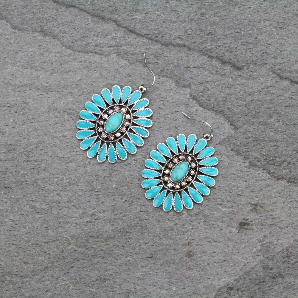 Western Concho Casting Stone Fish Hook Earrings-ER1081/SBTQ