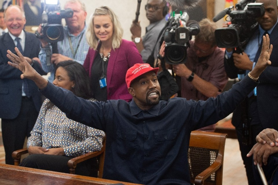 Rapper Kanye West, shown here meeting with Donald Trump in the Oval Office in October 2018, hinted at a 2024 presidential run after a resounding defeat of his curious 2020 campaign - SAUL LOEB / ©AFP