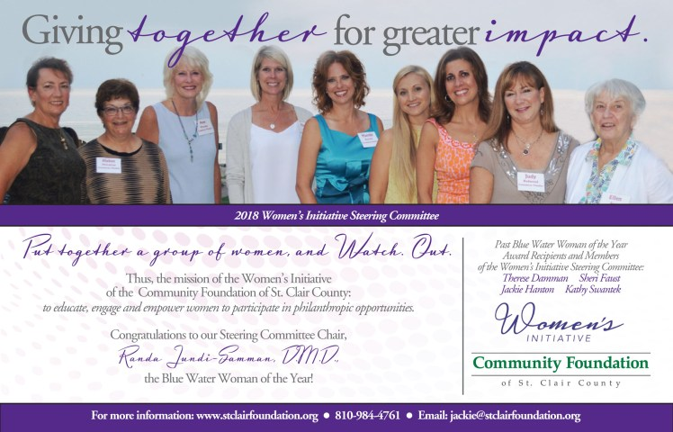 community foundation blue water woman ad--half page--D--15