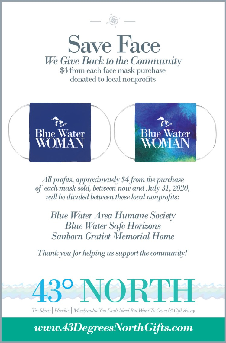 3625 x 375 ad--43 degrees north--blue water woman face masks.ind