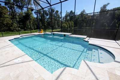 New Pool Construction w Tile Steps & Water Feature