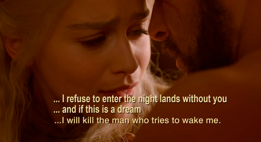 Drogo and Dany in tent beyond the Wall