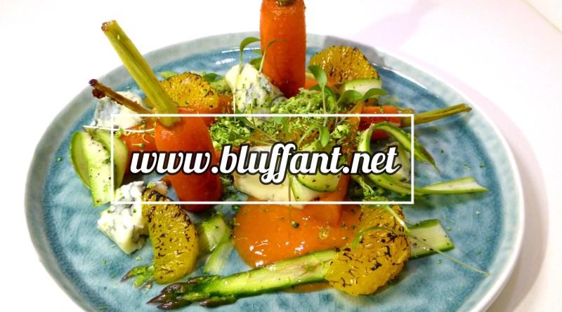 Zanahoria sous vide, gorgonzola, gelée y naranja a la llama