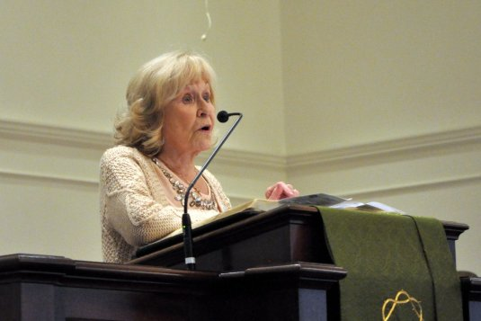 Walda speaking from the pulpit on UMW Sunday, 1/15/2017.