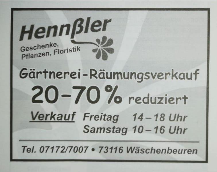 Gärtnerei-Räumungsverkauf