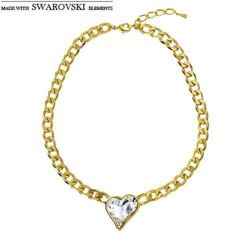 Neoglory MADE WITH SWAROVSKI ELEMENTS Crystal Jewelry Set Love Heart Design Light Yellow Gold Color Women
