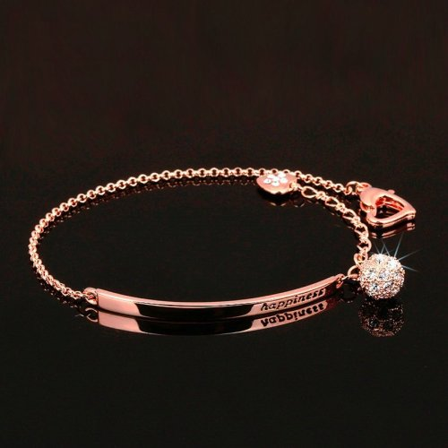Double Fair OL Style Cubic Zirconia Ball Fashion Charm Bracelets Bangles Rose Gold Color Crystal Jewelry