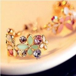 Kuziduocai  New Fashion Fine Jewelry Rhinestone Colorful Flowers Dazzling C type Butterfly Stud Earrings For