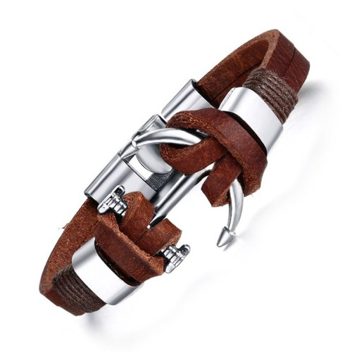 Meaeguet Men s Brown Leather Charm Bracelet Jewelry Vintage Anchor Bracelet For Male JoyerIa Anclas Pulsera