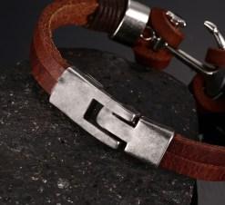 Meaeguet Men s Brown Leather Charm Bracelet Jewelry Vintage Anchor Bracelet For Male JoyerIa Anclas Pulsera
