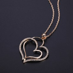 Top Quality Noble Heart Crystal Rose Gold Color Pendant Necklace Made with Austria Crystal Wholesale ZYN