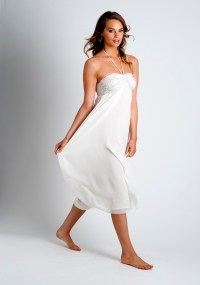 Silk Calf-Length Dress with Hand Embroidery