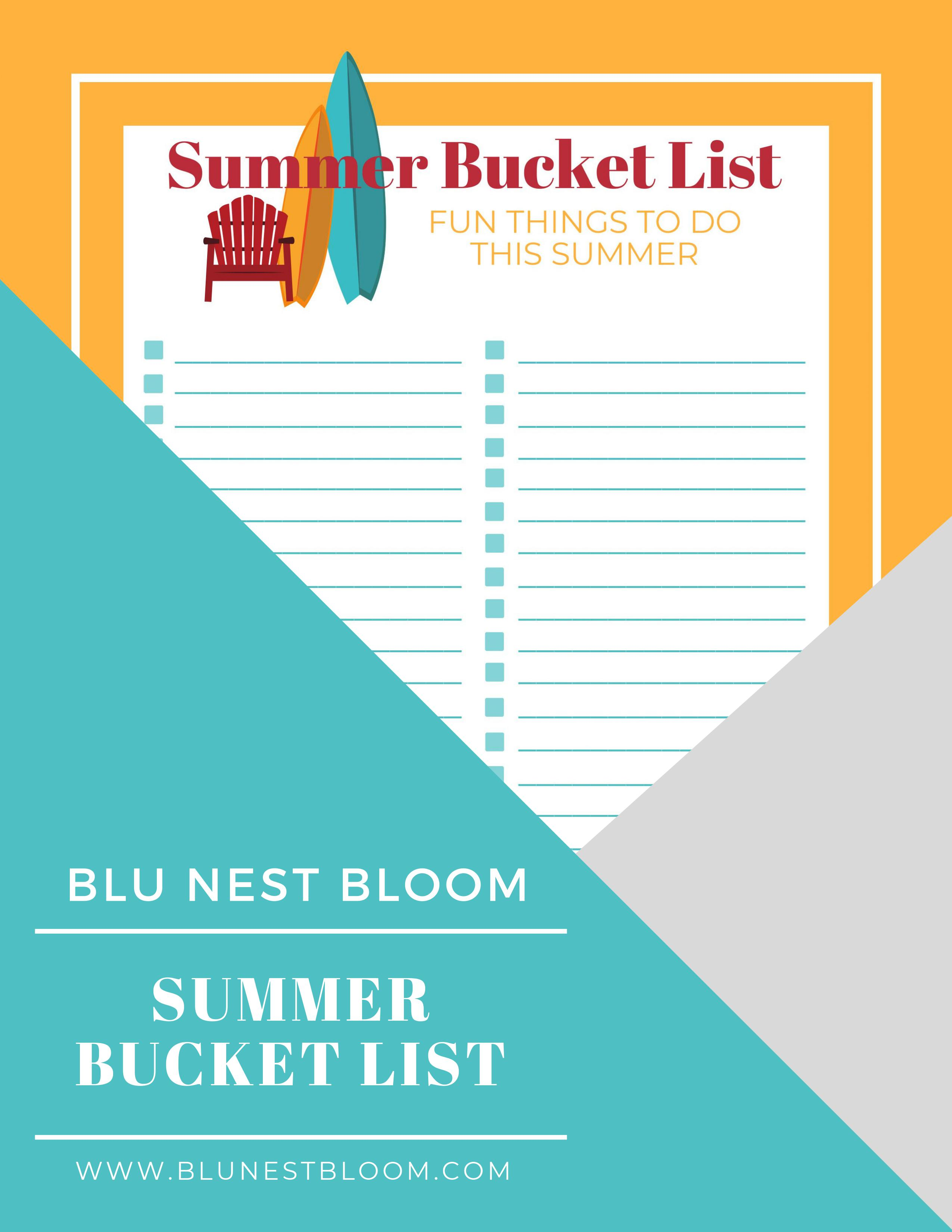 image relating to Printable Bucket List identified as Summer time Bucket Listing Record Free of charge Printable - Blu Nest Bloom