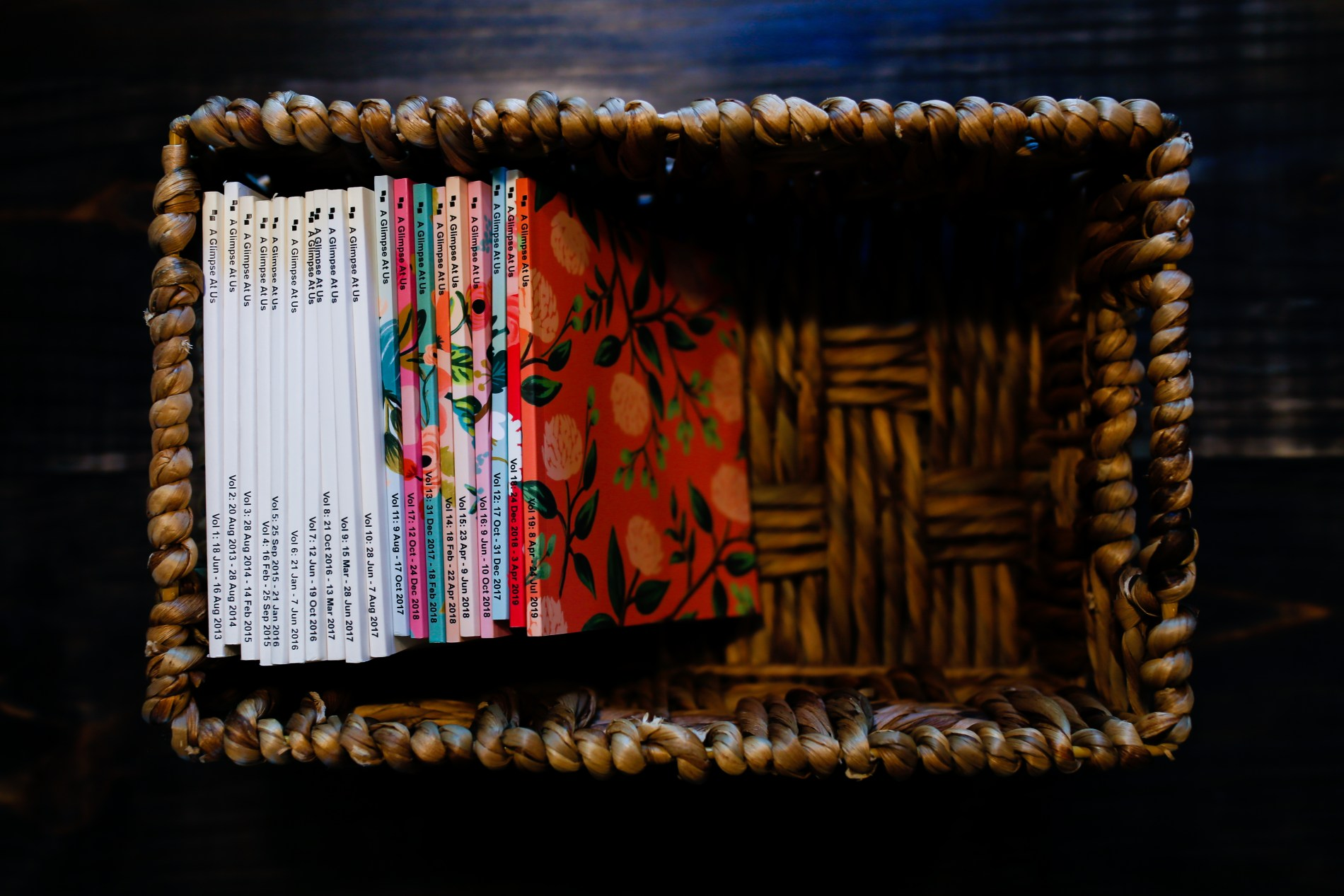 collection of chatbooks photobooks in a basket