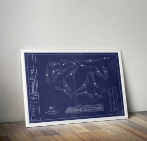 Vintage Bandon Dunes golf course blueprint