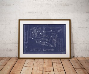 Vintage Chambers Bay golf course blueprint poster