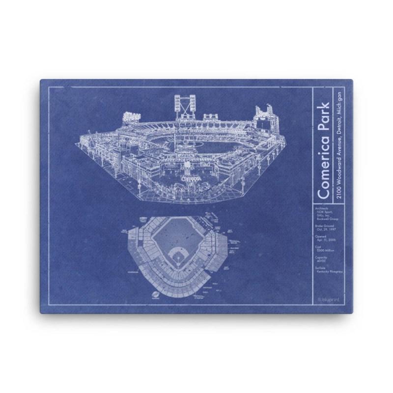 Comerica Park vintage blueprint