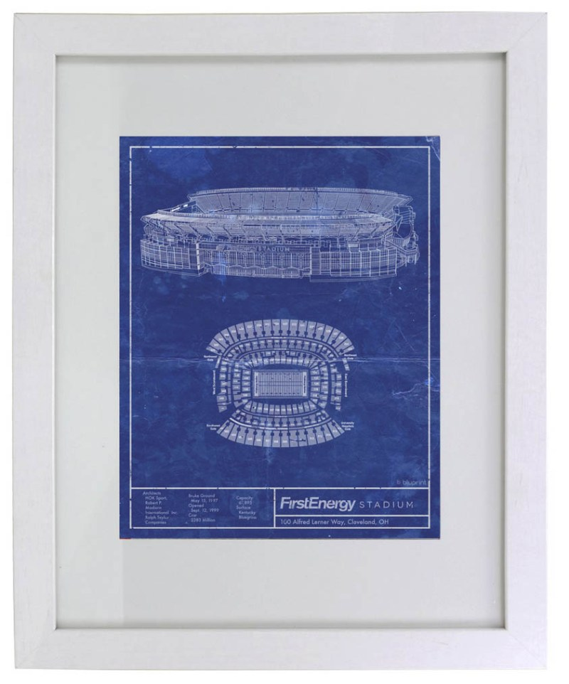 Cleveland First Energy Stadium vintage blueprint