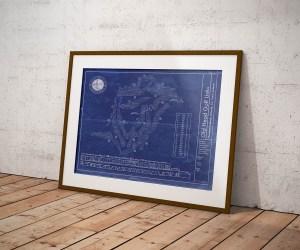 Old Head Golf Links vintage blueprint poster